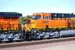 Up close shot of the cab of BNSF 6885 as she rolls west as a #2 unit on a all Very Brand New C4 Stack Train.